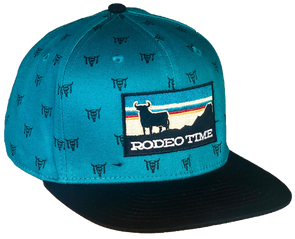 *NEW* Rodeo Time Sunset Teal Skull/Black Flatbill