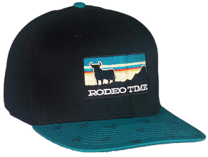 *NEW* Rodeo Time Sunset Black/Teal Skull Flatbill