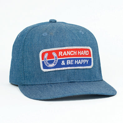 Ranch Hard Be Happy Chambray Flatbill