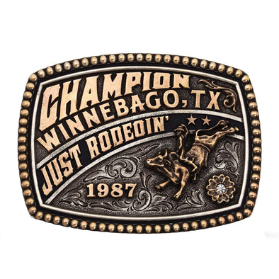 Montana Silversmiths Just Rodeoin' Champion Buckle- Rose Gold