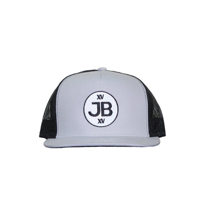 JB Round Logo on Grey and Black Mesh