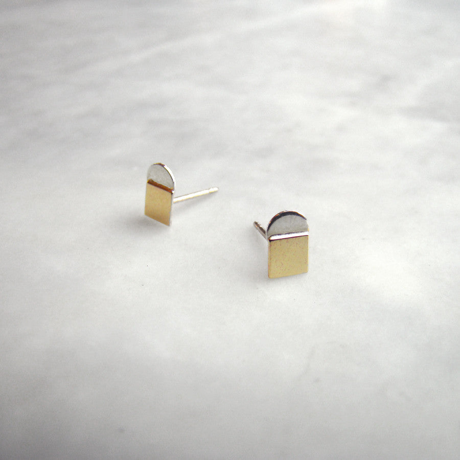 10k square sterling half circle studs