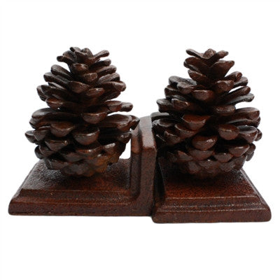 Cast Iron Pine Cone Bookends