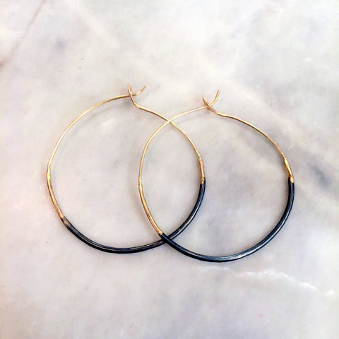 Ombre Hoops Small Oxidized Sterling Silver & 14k Yellow Gold