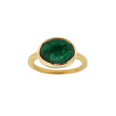 Oval Emerald Columbia Rose Cut Ring