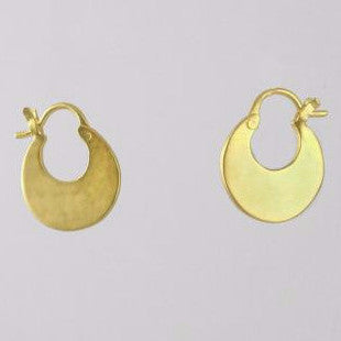 Flat Crescent Hoop Gold Plated Earrings