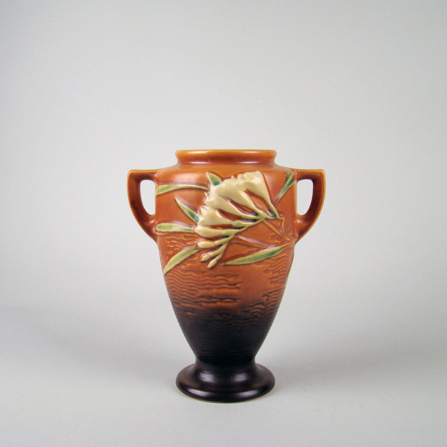 Roseville 121-8 Freesia Vase Brown
