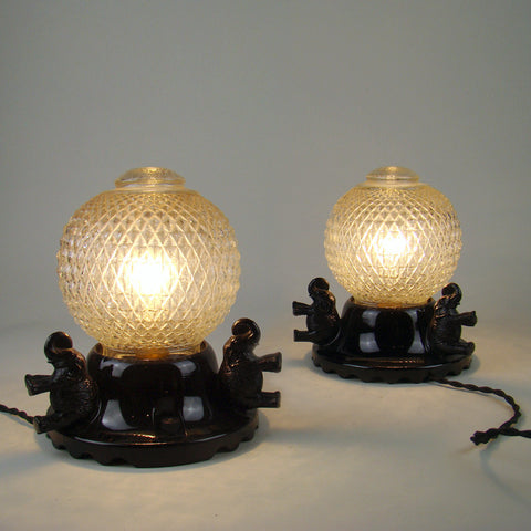 Vintage Black Glass Elephant Lamps Pair