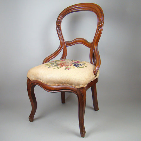Needlepoint Victorian Parlor Chair