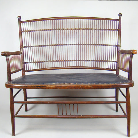 Antique Rattan Oak High Back Bench