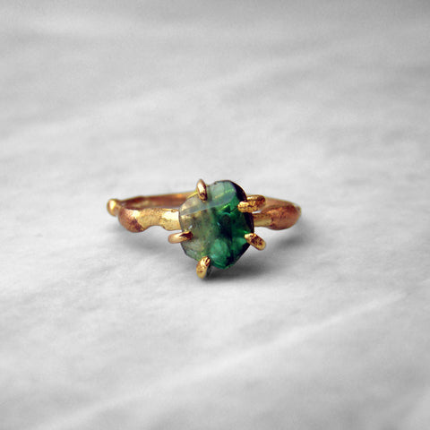 Emerald Ring 14k-24k Yellow Rose & White Gold