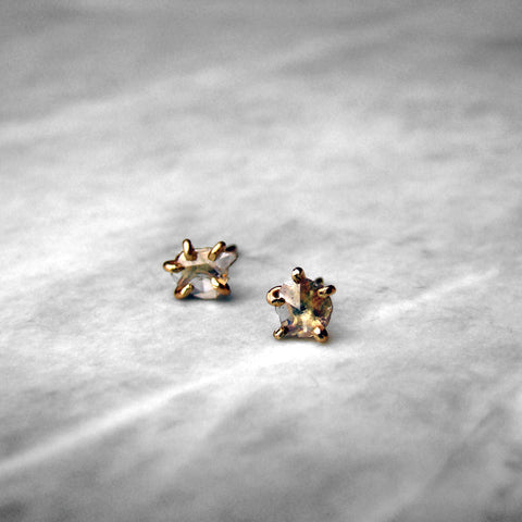 Rose Cut Diamond 14k Yellow Gold Studs Pair