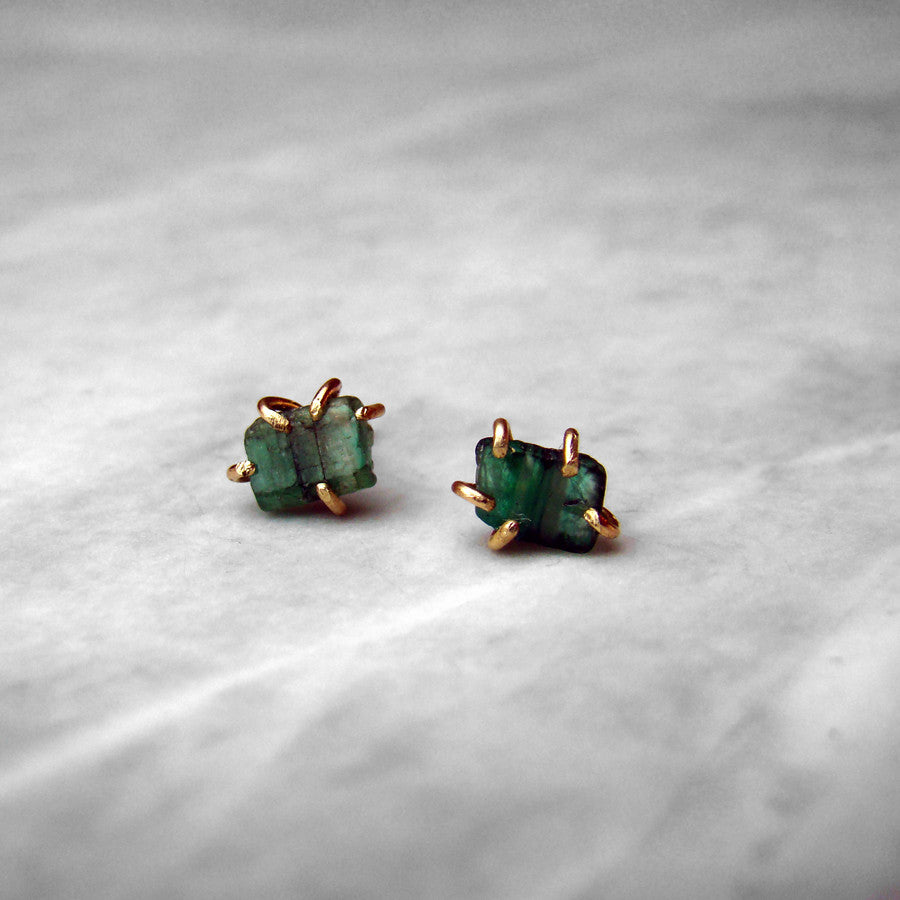 Small Emerald 14k Yellow Gold Studs Pair