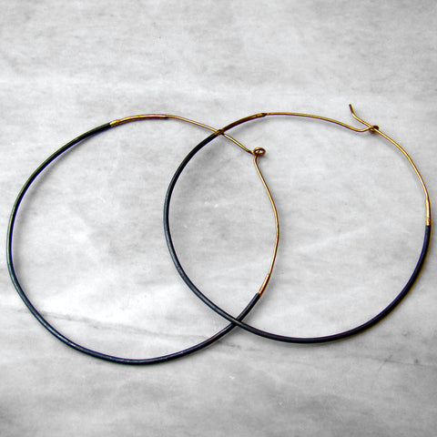 Ombre Hoops Large Oxidized Sterling Silver & 14k Yellow Gold