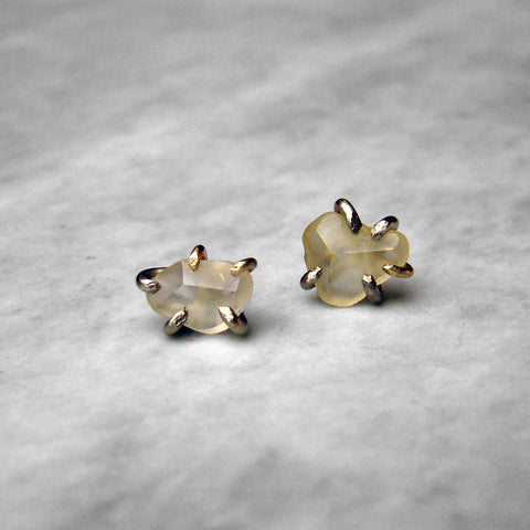 Yellow Sapphire Large 14k Yellow & White Gold Studs Pair