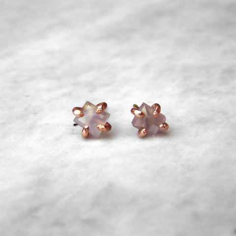 14K Small Holly Blue Agate Studs