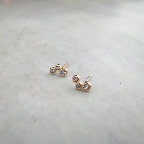 10K Rose Gold 3 CZ Bubbles Studs