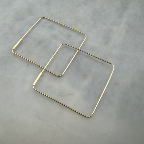 10K 30mm Square Wire Hoops