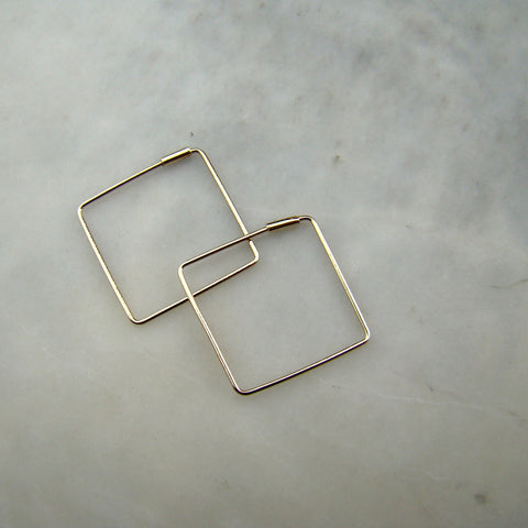 10k 12mm Yellow Sq Hoop w Tube Earrings