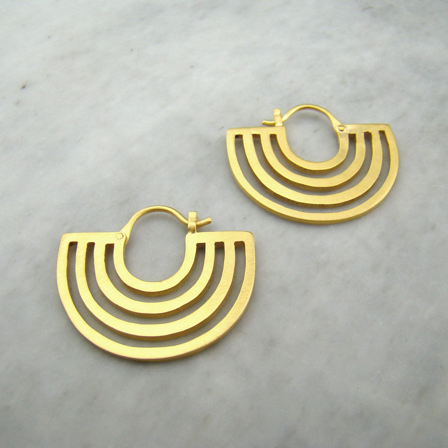 Cut Out Mayan Hoop Gold Plated Earrings