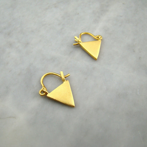 Small Triangle Drop Hoop Gold Plate Earrings