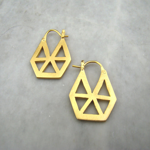 Geometric Cut Out Hoop Gold Plated Earrings