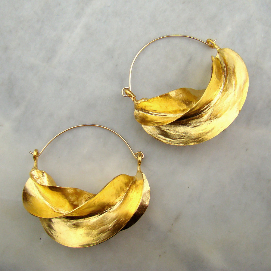 Fulani Earrings Gold Plate Size 4 Lg