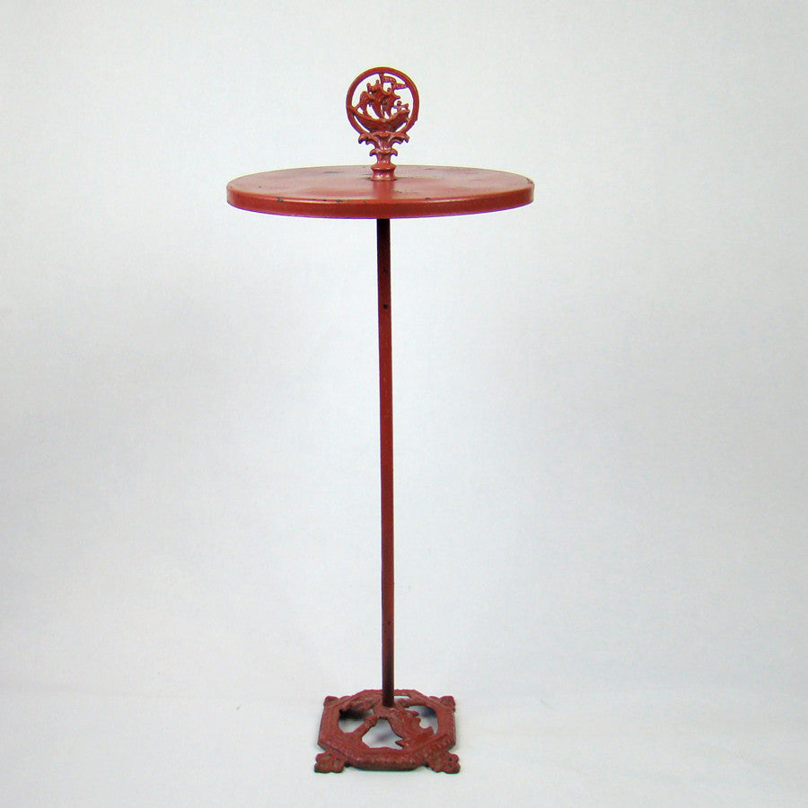 Red Tall Ship Painted Metal Side Table