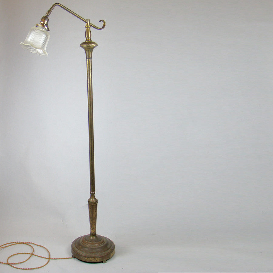 Vintage Brass Floor Lamp with Holophane shade
