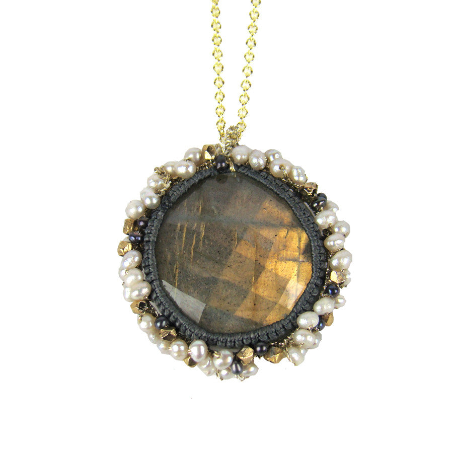 Urchin Necklace Labradorite, Tiny White/Grey Pearls, Gold Nugget, Grey Cord