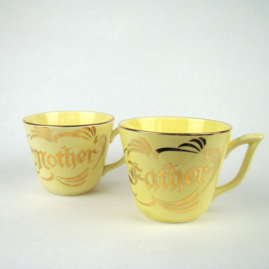 "Vintage ""Mother"" & ""Father"" Mugs"