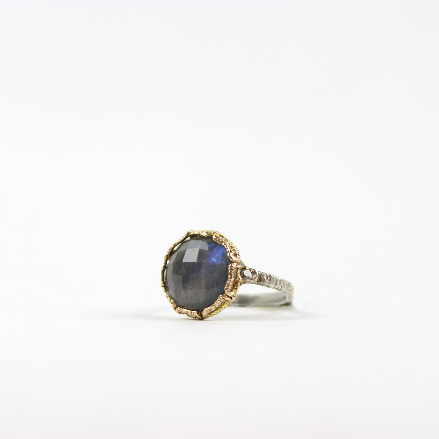 Labradorite And Diamond Ring 14K and Silver