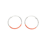 Small Hoop EarringsGF White, Grey & Coral