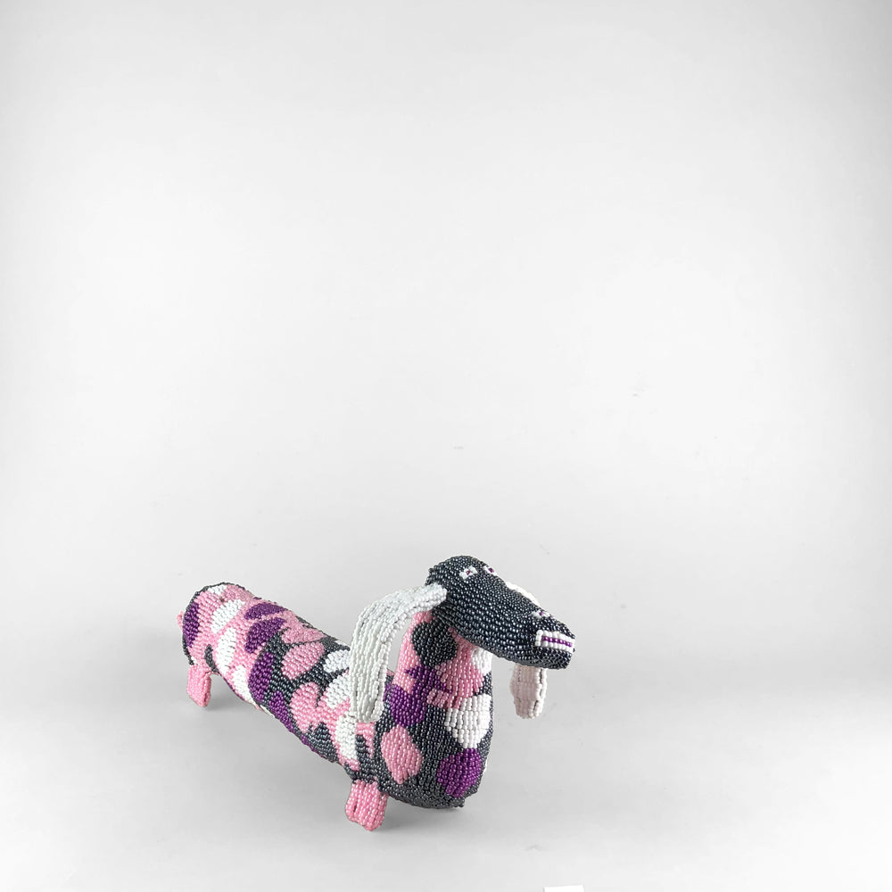 MonkeyBiz Pink Grey & White Dachshund