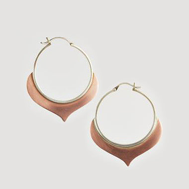 Large Alhambra Hoop Silver Copper Earrings