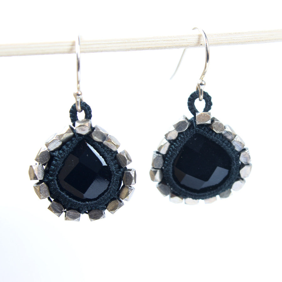 Lg Silver Beaded Caged Black Onyx Drop Earrings