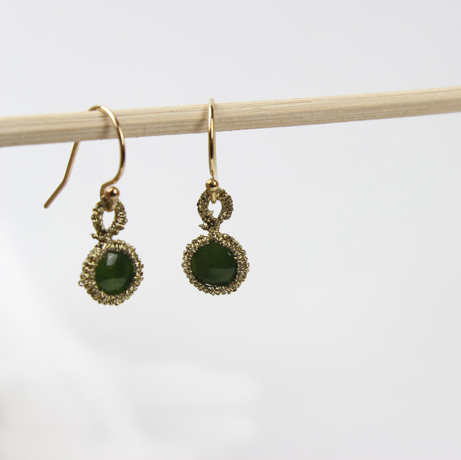 Caged Green Jade Cabochon Gold Cord Earrings