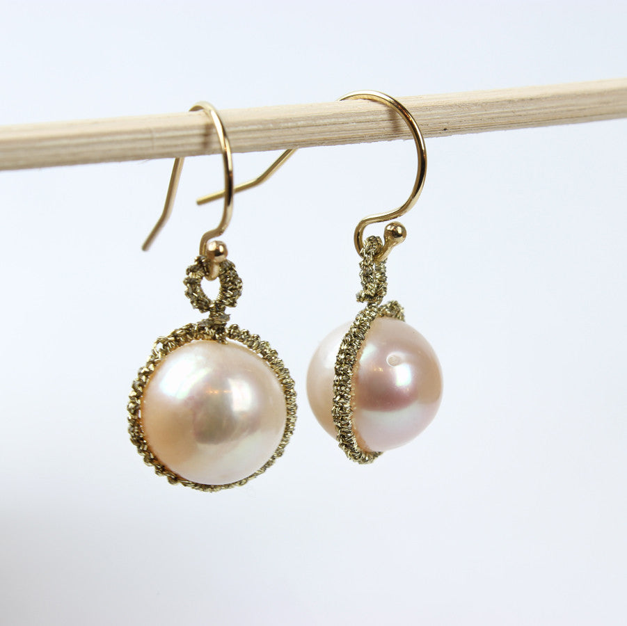 Woven Caged Pearl With Gold Cord Earrings
