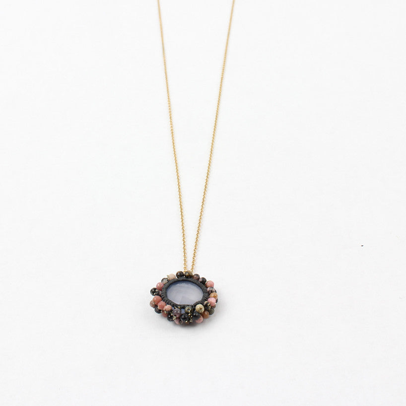 Medium Urchin Necklace Blue Chalcedony, Multi Pearl, Grey Cord, Gold Fill Chain