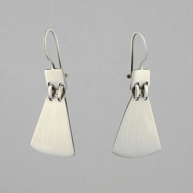 Square & Fan Dangle Sterling Silver Earrings