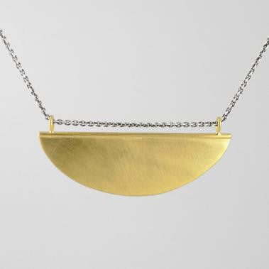 Half Disc Amulet Gold Plated Necklace