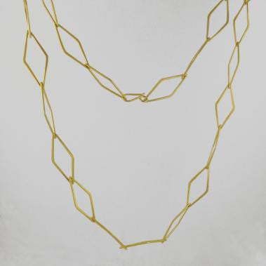 Diamond Link Necklace Gold Plate