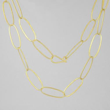 Long Oval Link Necklace Gold Plate
