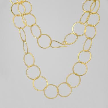 36in Handmade Circle Necklace Gold Plate