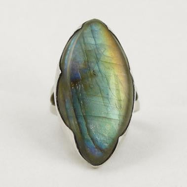 Large Marquis Cabochon Scalloped Bezel Labradorite Ring