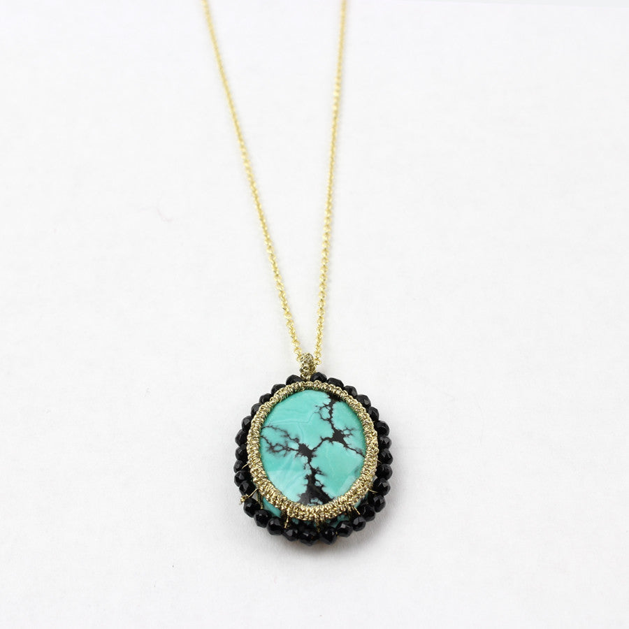 Urchin Spinel Necklace, Caged Turquoise, Gold Plated Chain