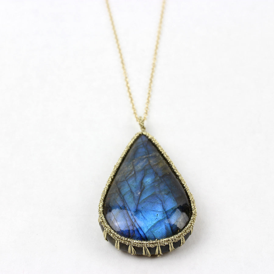 Caged Pear Labradorite Necklace With Gold Cord, 14K Gold Vermeil Chain