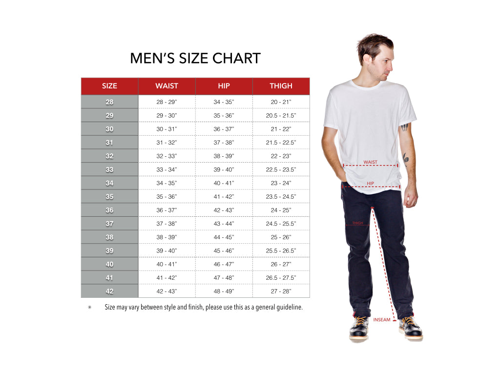Men's denim sizing chart for guys' jeans