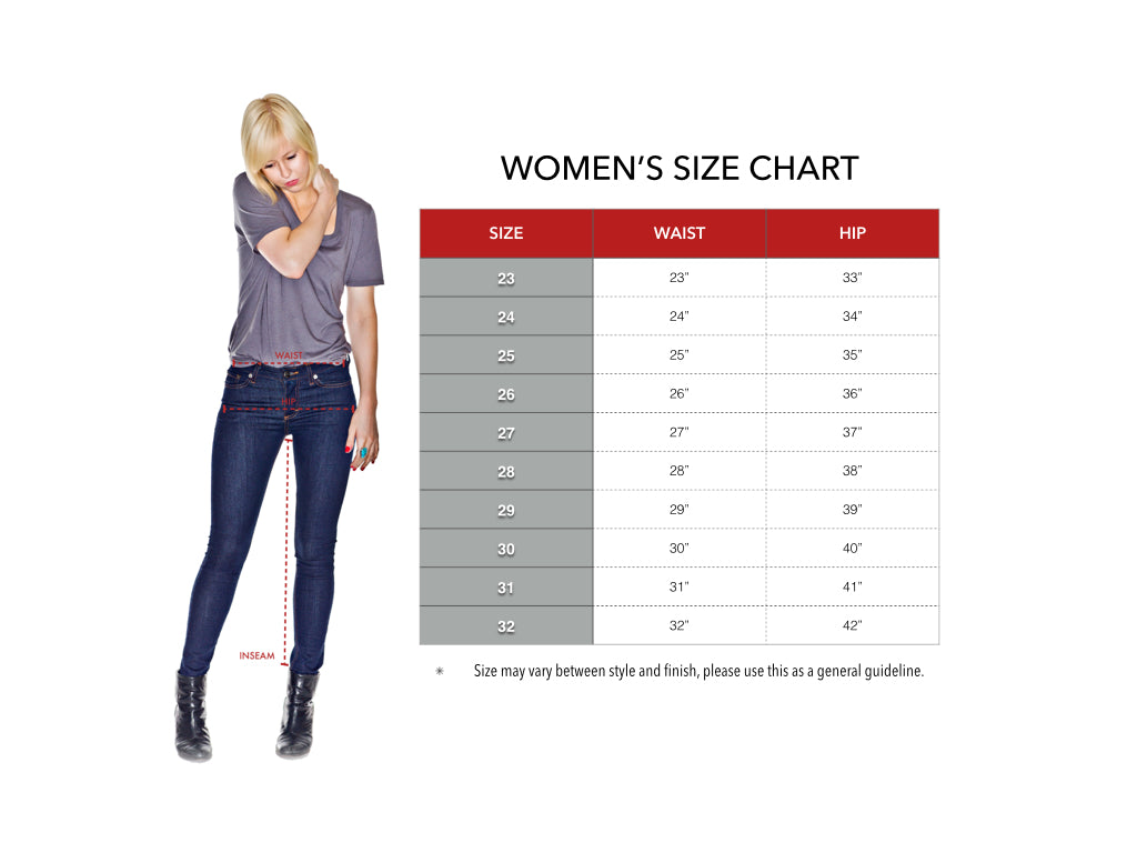 Women's denim sizing chart for ladies' jeans