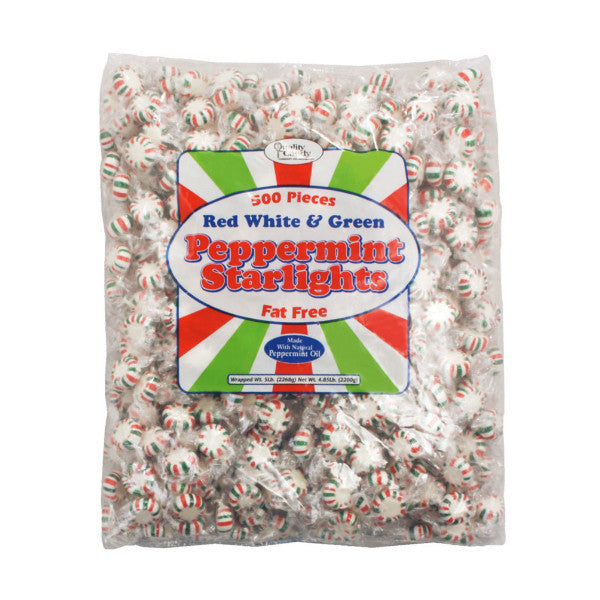 Red White & Green Peppermint Starlight Candy (5lb bag)